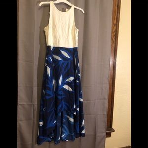 Beautiful blue and white high low dress